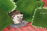 Adriana Puglisi Illustration - adriana puglisi, digital, paint, painted, commercial, educational, photoshop, illustrator, young fiction, editorial, animal, hedgehog, home, sofa, cushions, colour, colourful, YA, young reader, pet