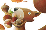Bruno Robert Illustration - bruno, robert, bruno robert, painted, traditional, paint, commercial, picture book, young reader, YA, cute,young, squirrel, nuts, autumn, woods, trees, nuts, acorns, hungry