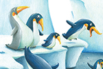 Bruno Robert Illustration - bruno, robert, bruno robert, painted, traditional, paint, commercial, picture book, young reader, YA, humour, animals, penguins, icebergs, cliff, water, sea, ocean, swimming, diving, sun,