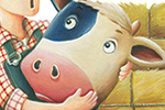 Bruno Robert Illustration - bruno, robert, bruno robert, painted, traditional, paint, commercial, picture book, young reader, humour, farm, animals, cow, duck, horse, sheep, dog, cat, pig, hay, farmer, person, figure, job, man, hug, happy