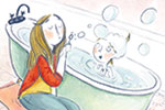 Catalina Echeverri Illustration - catalina echeverri, catalina, echeverri, trade, commercial, fiction, picture book, educational, digital, mixed media, photoshop, illustrator, colourful, colour, family, mother, daughter, people, woman, girl, bath, bubbles, happy, fun, memories, cute, swee