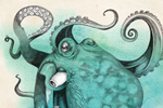 Emily Twomey Illustration - emily twomey, emily, twomey, watercolour, traditional, detailed, painted, paint, octopus, animal, colour, colourful, line, black line