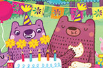 Evgenia Golubeva Illustration - evgenia, golubeva, evgenia golubeva, digital, commercial, picture book, fiction, educational, colourful, enchanted, forest, trees, animals, party, dancing, music, foxes, bears, cake, food, balloons, birthday, music
