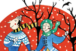 Emily Twomey Illustration - emily twomey, emily, twomey, painted, traditional, young reader, YA, picture book, picturebook, man, woman, person, figure, people, ice skating, birds, animal, boots, skates, snow, snowing, colour, colourful, pattern, jumper, hat, scarf, couple, tree