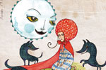 Emily Twomey Illustration - emily twomey, emily, twomey, traditional, paint, painted, picturebook, picture book, moon, girl, person, figure, wolves, animals, pattern, flowers, fantasy, fairy tale, type, text, young reader ,YA
