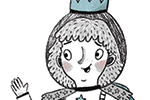 Emily Cooksey Illustration - emily cooksey, illustrator, digital, texture, pencil, line, fiction, mass market, picture books, middle grade, young reader, sketch, black and white, b & w, spot colour, girl, character, crown, princess, cat, stars, pet, animal, friends, helmets, walk, le