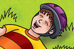 Geoff Ball Illustration - geoff, ball, geoff ball, value, colouring, commercial, educational, advertising, digital, photoshop, illustrator, colour, boy, bike, tired, laugh, laughing, helmet, hat,young