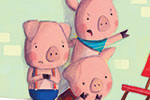 Giuditta Gaviraghi Illustration - giuditta, gaviraghi, guiditta gaviraghi,digital, traditional, commercial, picture book, picturebook, colour, colourful, sweet, animal, pigs, piggies, three little pigs, furniture, house, YA, young readers