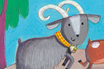 Giuditta Gaviraghi Illustration - giuditta, gaviraghi, guiditta gaviraghi,digital, traditional, commercial, picture book, picturebook, colour, colourful, sweet, animal, goats, troll, bridge, countryside, water, lake, river, billygoats gruff, story time, painted, birds, flowers
