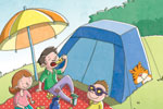 Garyfallia Leftheri Illustration - garyfallia leftheri, garyfallia, leftheri, commercial, picture book, picturebook, educational, digital, illustrator, photoshop, people, person, figurative, boy, parents, child, woman, man, camping, tiger, tent, food, pizza