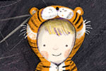Judi Abbot Illustration - judi, abbot, judi abbot, acrylic, paint, painted, trade, traditional, commercial, picture book, picturebook, sweet, cute, boy, child, figure, person, room, wall, pictures, drawings, tiger, costume, fancy dress, dressing up, leaves, crafts, mask, tiger,