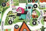 Jana Curll Illustration - jana, curll, jana curll, commercial, education, fiction, young reader, picture book, mass market, detail, value, sweet, cute, young, photoshop, digital, illustrator, map, houses,streets, trees, nature, urban, people, home, sun,