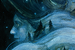 Jana  Heidersdorf Illustration - ana, heidersdorf, jana heidersdorf, illustrator, illustration, painterly, person, figure, photoshop, hand drawn, pencil, coloured pencil, dark, fantasy, adventure, magic, mystery, forest, face, woman, trees, moon, stars, wind, weather