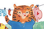 Jessica Martinello Illustration - jessica, martinello, jessica martinello, illustration, hand drawn, painted, digital, novelty, picture book, commercial, educational, sweet, young, fiction, trade, YA, tiger, animal, garden, trees, washing, clothes, washing line, house, treeehouse, socks,
