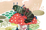 Jojo Clinch Illustration - jojo, clinch, jojo clinch, fiction, picture book, pencil, colour, hand drawn, traditional, digital, texture, girl, caterpillar, animal, wild, alice, alice in wonderland, classic, book, story, tale, trees, plants, nature, mushroom, fantasy, land, clouds, s