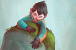 Jordi  Solano Illustration - jordi solano, jordi, solano, painterly, painted, magical, whimsical, digital, photoshop, YA, young fiction, picture books, fantasy, crayon, acrylic, boys, children, kids, kids, young, climbing, animals, elephants, rocks, cliffs, hills