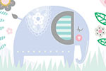Katy Halford Illustration - katy, halford, licensing, cards, digital, mixed media, collage, digital, photoshop, illustrator, cute, sweet, young, flowers, decorative, elephant, typography, moon, bird, singing, clouds