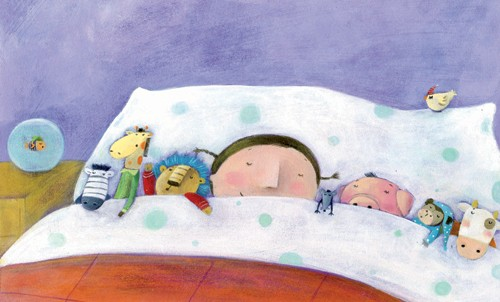 Francesca Assirelli Illustration - francesca, assirelli, francesca assirelli, acrylic, acrylic paint, paint, painted, commercial, trade, picturebook, picture book, child, children, people, girl, girls, sleep, sleeping, dream, dreaming, bed, bedroom, toys, dolls