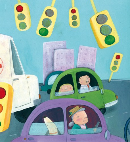 Francesca Assirelli Illustration - rancesca, assirelli, francesca assirelli, acrylic, acrylic paint, paint, painted, commercial, trade, picturebook, picture book, child, children, people, car, cars, vehicle, vehicles, traffic, transport, city