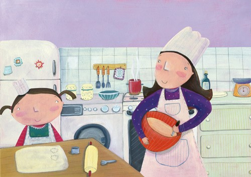 Francesca Assirelli Illustration - rancesca, assirelli, francesca assirelli, acrylic, acrylic paint, paint, painted, commercial, trade, picturebook, picture book, child, children, people, girl, girls, daughter, daughters, mum, mummy, mother, parent, kitchen, cook, cooking, baking