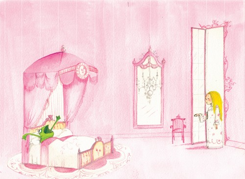 Florencia  Denis Illustration - florencia denis, flory denis, paint, painted, watercolour, traditional, picture book, picturebook, trade, girly, girls, pink, princess, princesses, frogs, bedroom, palace