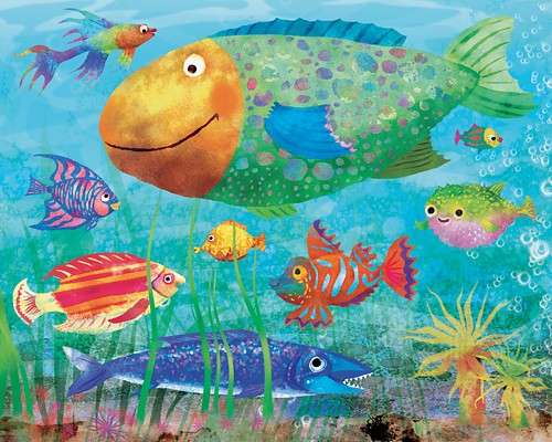 Milly Teggle Illustration - milly, teggle, milly teggle, photoshop, adobe, digital art, adobe photoshop, digital, texture, textured, textures, picture book, fiction, educational, fish, fishes, water, sea, marine, underwater, bubbles, weeds, seaweed, fins, tails, gills, swim, swimmin