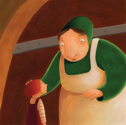 Laura Barella Illustration - laura, barella, laura barella, acrylic, paint, painted, commercial, trade, picture book, picturebook, fairy tale, fairytale, people, child, children, boy, boys, jack, jack and the beanstalk, giant, giant's wife