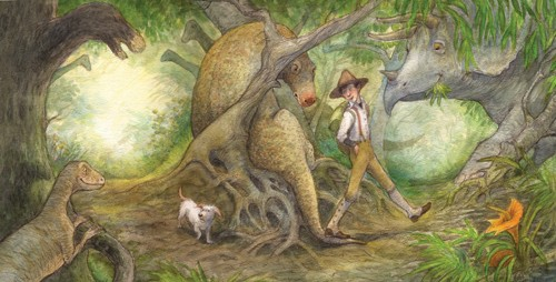Petra Brown Illustration - petra, brown, petra brown, watercolour, paint, painted, commercial, traditional, trade, picture book, picturebook, dinosaurs, people, boy, boys, jungles, forests