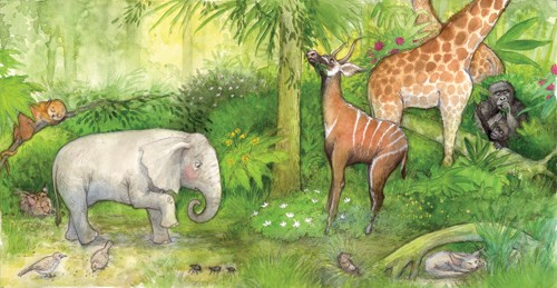 Petra Brown Illustration - petra, brown, petra brown, watercolour, paint, painted, commercial, traditional, trade, picture book, picturebook, animals, jungles, giraffes