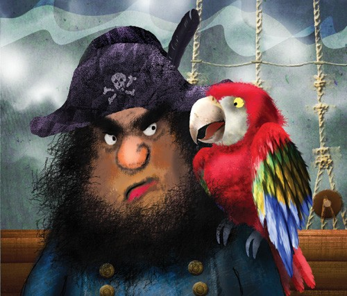 Milly Teggle Illustration - milly, teggle, milly teggle, photoshop, adobe, digital art, adobe photoshop, digital, texture, textured, textures, picture book, fiction, educational, pirate, parrot, sailor, ship, feathers, beak, cheeky, character, black, black beard, beard, skull and cr