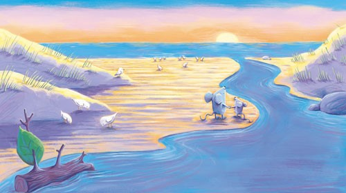 Alison Brown Illustration - alison, brown, alison brown, paint, painted, acrylic, commercial, trade, picture book, picturebook, novelty, mass market, fiction, young reader, YA, animal, cute, sweet, mice, mouse, sea, shore, sand, ocean, water, sunset, birds, gulls, log, twig,