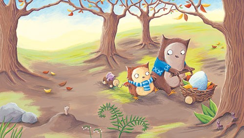 Alison Brown Illustration - alison, brown, alison brown, paint, painted, acrylic, commercial, trade, picture book, picturebook, novelty, mass market, fiction, young reader, YA, animal, cute, sweet, owl, mum, baby, parent, child, sibling, woodland, walk, pram, egg, trees, leaves, family, autumn