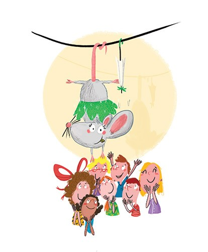 Ana Gomez Illustration - ana, gomez, ana gomez, picture book, commercial, young, children, eric, lion tamer, circus, acrobatic, funny, fun, crowd, audiences, tightropes, umbrellas, costumes, mice, mouse, performers, performance, show, circus, boys, girls,
