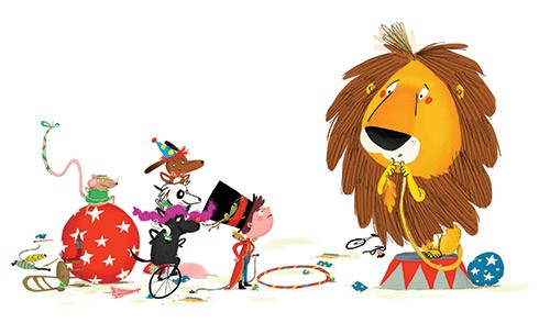 Ana Gomez Illustration - ana, gomez, ana gomez, picture book, commercial, young, children, eric, lion tamer, circus, acrobatic, dogs, puppy, puppies, podium, digital, photoshop, illustrator, boys, costumes, unicycles, hula hoops, balls, scared, nervous, snails, mouse, mice, silly