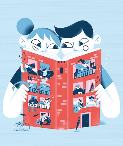 Ane Arzelus Illustration - ane arzelus, illustration, digital, vector, colour, colourful, texture, picture book, characters, people, reading, book, happy, comic, fun, adventure, building, windows, apartments, neighbourhood, witch, bats, funny, story,
