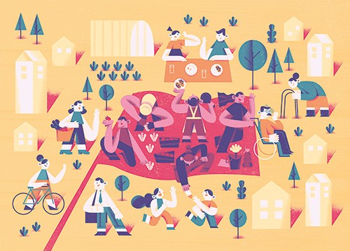 Ane Arzelus Illustration - ane arzelus, illustration, digital, vector, colour, colourful, texture, picture book, busy, scene, people, park, nature, outside, exercise, sport, walking, wheelchair, people, men, women, old, picnic, houses, homes, trees, fun, happy, yellow, sunny
