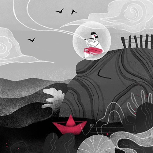 Ane Arzelus Illustration - ane arzelus, illustration, digital, vector, black and white, colour, spot colour, texture, picture book, character, person, nature, hill, clouds, sky, birds, flute, music, playing bubble, boat, river, lake, pond, water, plants, peaceful, musical, relaxing