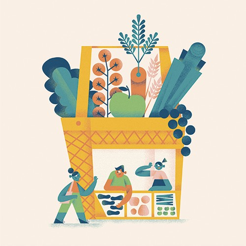 Ane Arzelus Illustration - ane arzelus, illustration, digital, vector, colour, colourful, texture, picture book, basket, groceries, shopping, shop, giant, clever, fun,y people, shop, shoppers, deli, counter, customer, people, characters, retail, vegetables, carrots, leek, tomatoes,