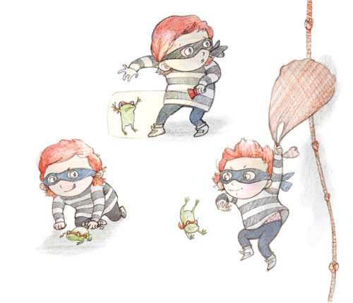 Amy Proud Illustration - amy proud, amy, proud, painter, water colour, watercolour, paint, traditional, picture books, fiction, children, boys, girls, burglar, frog, robber, rope, treasure, climbing,