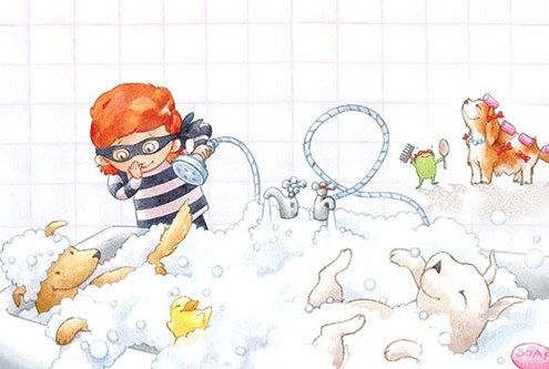 Amy Proud Illustration - amy proud, amy, proud, painter, water colour, digital, watercolour, paint, traditional, picture books, fiction, people, person, child, children, robber, bath, bubbles, bath time, playing, dogs, animals, pets, duck,