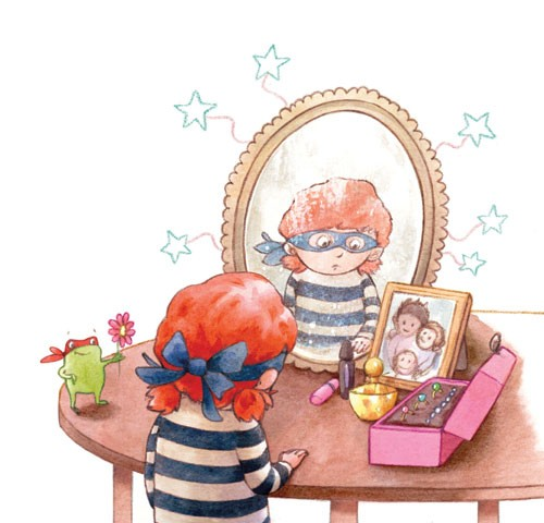 Amy Proud Illustration - amy proud, amy, proud, painter, water colour, digital, watercolour, paint, traditional, picture books, fiction,girl, child, person, figure, figurative, frog, pet, animal, mirror, flower, table, mischievous, pattern, stars