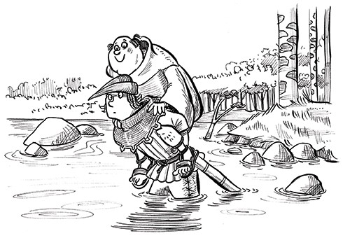 Alex Paterson Illustration - alex paterson, alex, paterson, fiction, educational, ink, pen, digital, black and white, b & w, photoshop, illustrator, robin hood, little john, story, tale, men, woods, characters, book, trees, sword, water, lake, paddling, rocks, wet, carry, piggyback,