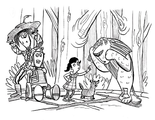 Alex Paterson Illustration - alex paterson, alex, paterson, fiction, educational, ink, pen, digital, black and white, b & w, photoshop, illustrator, wizard of oz, story, tale, fairytale, fantasy, dorothy, girl, lion, dog, pet, tin man, scarecrow, animals, characters, people, scared,