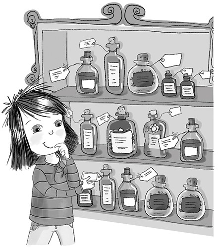 Adriana Puglisi Illustration - adriana puglisi, digital, paint, painted, commercial, educational, photoshop, illustrator, young fiction, editorial, girl, black and white, b+w, potions, mischievous, person, YA, young reader