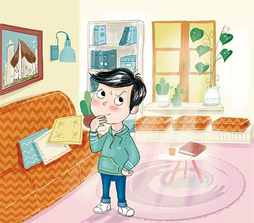 Adriana Puglisi Illustration - adriana puglisi, digital, paint, painted, commercial, educational, photoshop, illustrator, young fiction, editorial, boy, child, person, home, colour, colourful, living room, YA, young reader, furniture