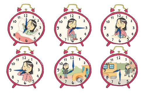 Adriana Puglisi Illustration - adriana puglisi, digital, paint, painted, commercial, educational, photoshop, illustrator, young fiction, editorial, clock, time, alarm, alarm clock, school, school day, girl, child, person, school bus, YA, young reader, colour, colourful