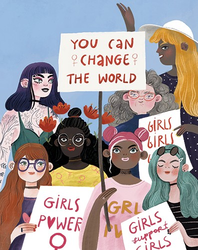 Anna Shepeta Illustration - anna shepeta, fiction, digital, pencil, texture, traditional, colour, colourful, art, girls, people, characters, women, crowd, protest, signs, feminism, feminists, happy, glasses, dyed hair, tattoos, old, young, friends, love, peace, peaceful,