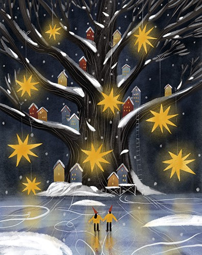 Anna Shepeta Illustration - anna shepeta, texture, fiction, digital, pencil, texture, traditional, colour, colourful, tree, giant, houses, branches, tiny, homes, winter, snow, seasonal, festive, stars, glowing, night, people, ice, skating, ice skating, magical, christmas, ladders, d