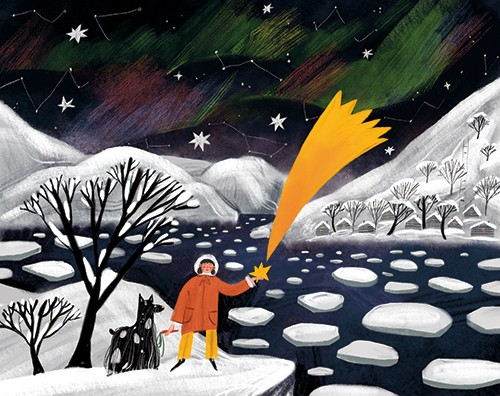 Anna Shepeta Illustration - anna shepeta, texture, fiction, digital, pencil, texture, traditional, colour, colourful, night, sky, ice, snow, winter, stars, northern lights, aurora borealis, shooting star, person, character, dogs, pets, tree, constellations, nature, ocean, sea, water