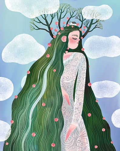 Anna Shepeta Illustration - anna shepeta, texture, fiction, digital, pencil, texture, traditional, colour, colourful, woman, giant, person, character, girl, flowers, nature, mountain, hill, grass, trees, crown, head, dress, plants, clouds, mother nature, magic,